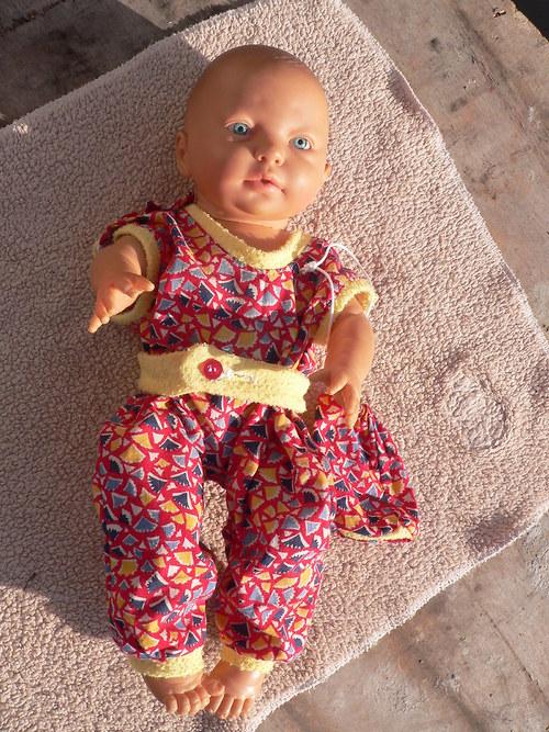 Červené vzorované kalhoty a taštička - pro panenky