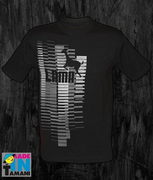 Pánské černé tričko s Lamou velký potisk