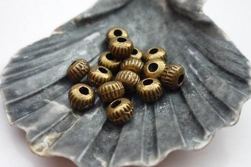 vroubkované kuličky staromosazné 20 ks, 3mm