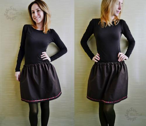 Jolly Basic - čokoládová sukňa so stuhou