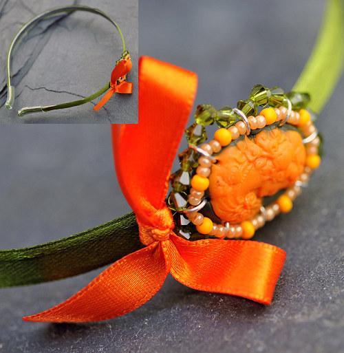 Oranžovo-zelená čelenka - kamej H0004O