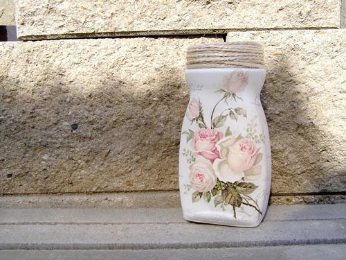 """Skleněná \""""Recy váza\"""" 18 cm - Růže retro"""