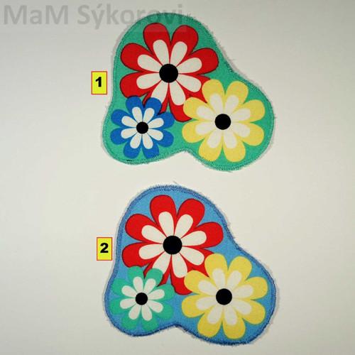 Nažehlovací aplikace květy na modré a zelené I