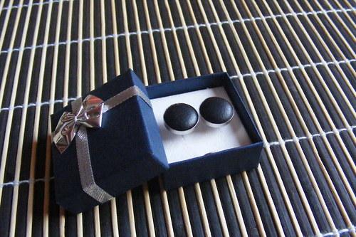 Manžetové  knoflíčky - kožené černé