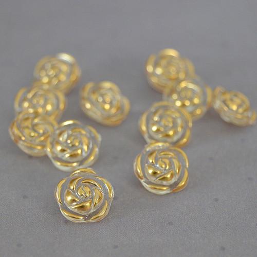 Knoflík / růžička zlatá - 10 ks