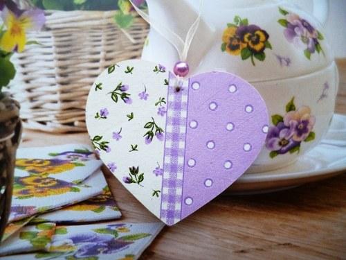 srdíčko - romantické - fialovo - bílé