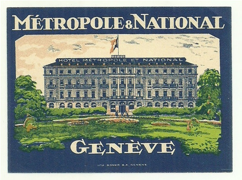 Hotelové nálepky National Geneve