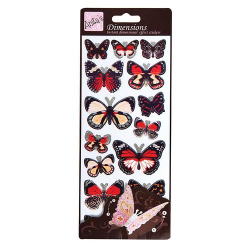 Plastické samolepky DIMENSIONS Motýlí křídla RED