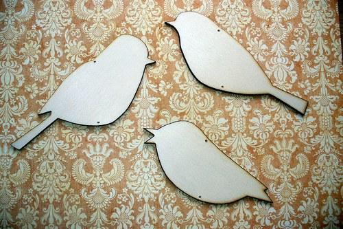 Výřezy ptáčků 3 kusy.