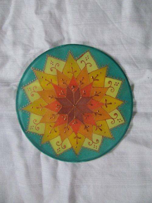 autorská mandala na hedvabi 15 cm