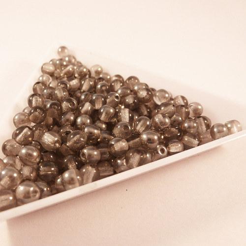 Kuličky 4 mm šedé lesklé 100 ks