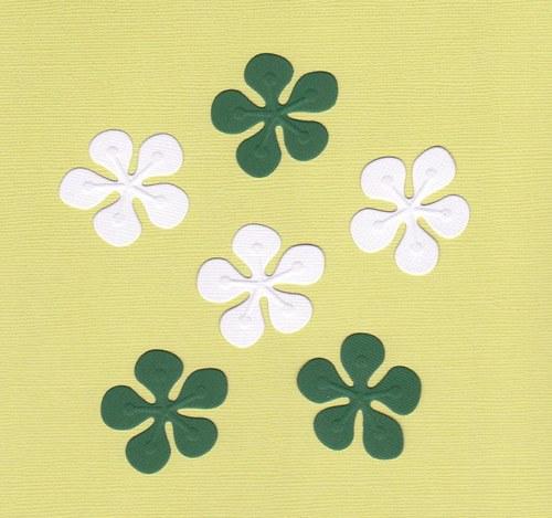 Kytičky - zelené a bílé výseky (6 ks)