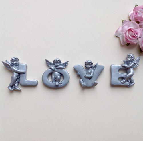 """Andělé \""""LOVE\"""" (polymerová ozdoba)"""