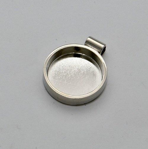 Kovový základ na přívěsek kolečko / stříbrný