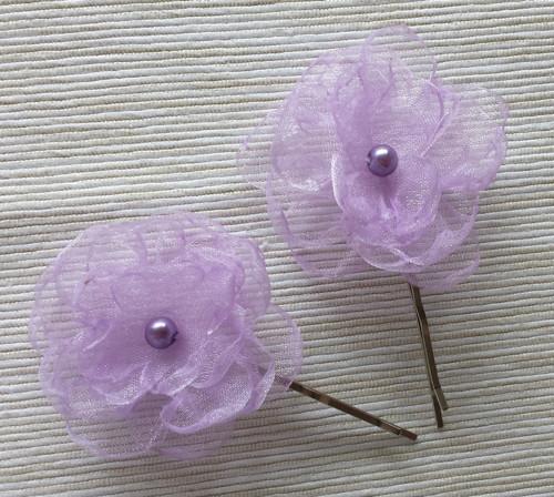 2x LILA kytička pro družičku - fialová perlička