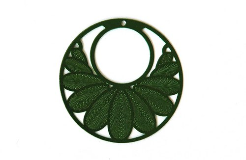 měděný přívěsek kolečko 3cm zelené