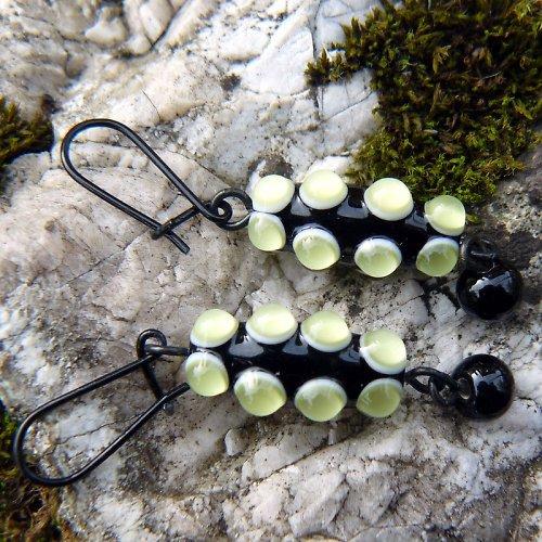 Náušnice okaté olivy -  zelené  (olivín)