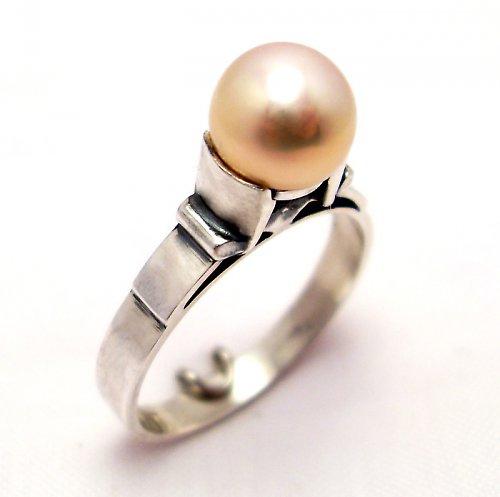 Prsten «Mořský svět» - růžová perla, Ag 925/1000