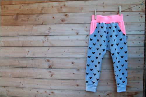 Tepláky Grey Mickey Neon Pink baggy