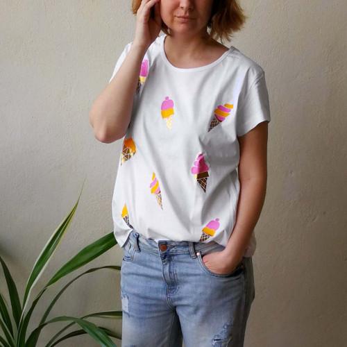 Tričko s potlačou Ice cream (White)