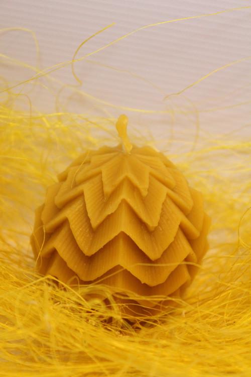KOULE ZDOBENÁ MALÁ svíčka ze včelího vosku