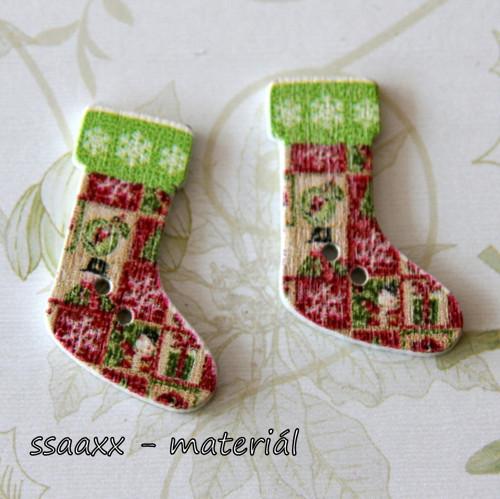Dřevěný knoflík ~ 30 mm ~ vánoční punčocha VI