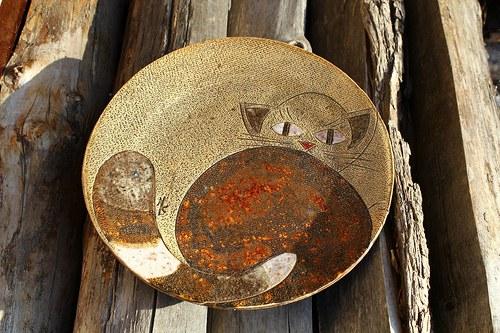 Keramický talířek s kočičkou - velký