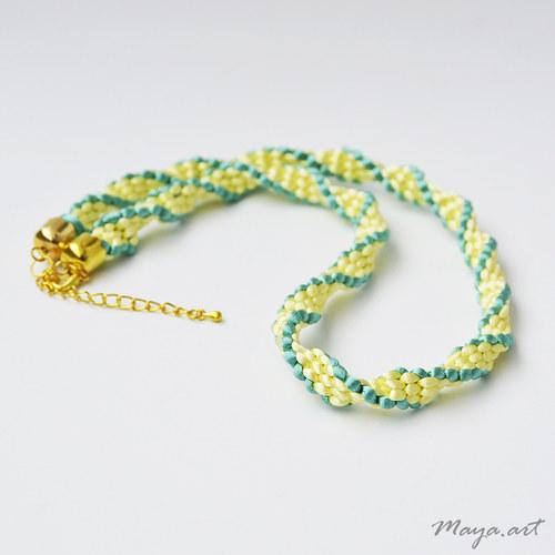 """Zelenožlutý náhrdelník \""""KUMIHIMO\"""""""