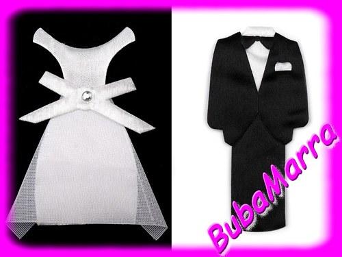 ~ Textilní dekorace výška 85mm ~ ženich a nevěsta