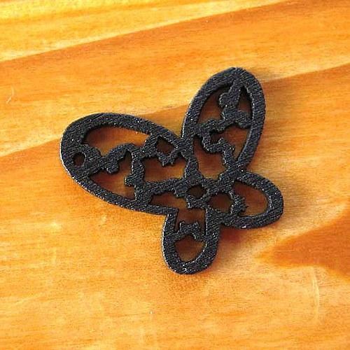 Dřevěný Motýlek - 2ks - Černý