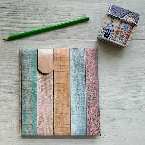 ručně šitý blok - dřevíčka