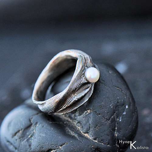 Zásnubní prsten damasteel a perla - Víla vod