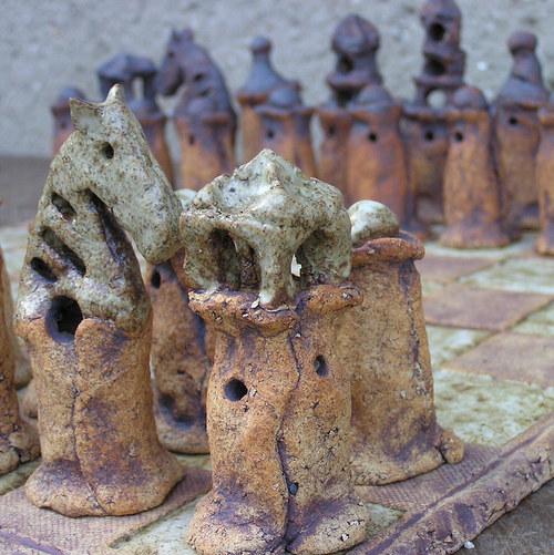 Keramické šachy velké stavěné