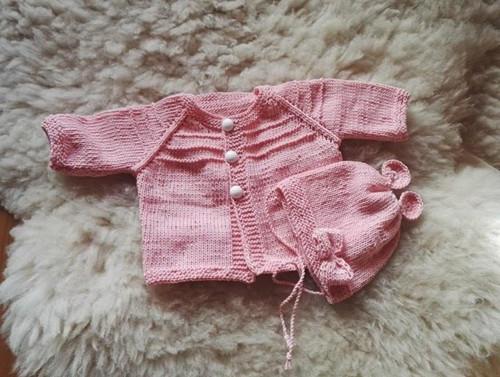 Dětský svetřík a čepička-soupravička z bavlny