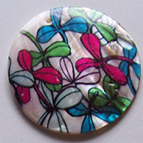 Perleťové malované kolečko tlustší, 5 cm, Kvítí
