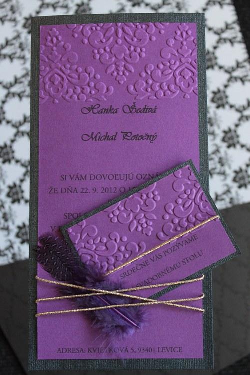 Svadobné oznámenie - perleťové čierne s fialovou