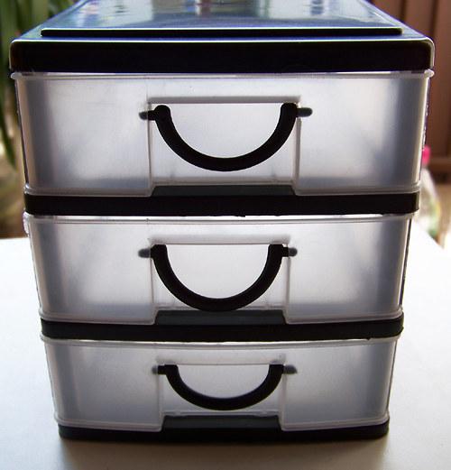 Plastový box se 3 šuplíky/ 13x14x15,5cm/ 1ks