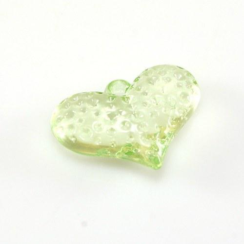 Srdíčko sv.zel.- plastový přívěsek 20x25 mm, 1 ks