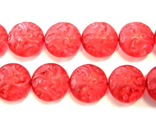 0300938/Placička s ornamentem červená mat, 6 ks
