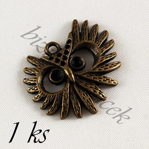 Rozčepýřená sova bronzové barvy - 1ks