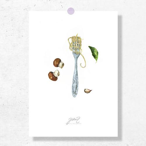 Spaghetti porcini. Signovaný tisk do rámu A4
