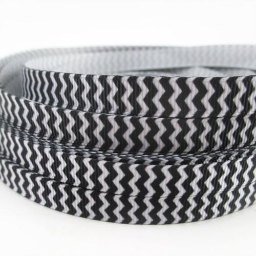 Stuha rypsová š.10 mm: Chevron- černá/bílá