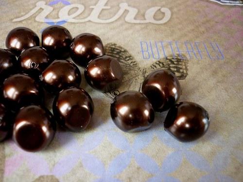 v24 / perly nugeta čokoládové / 12x15mm / 3ks