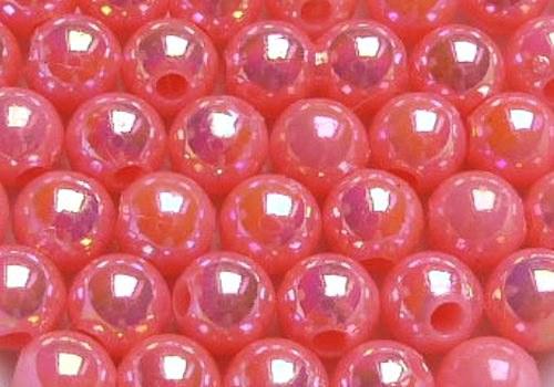 Plastové kuličky duhové 4 mm - stř. růžová / 20 ks