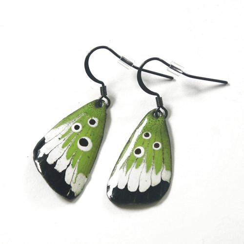 Zelené motýlí - smaltované náušnice