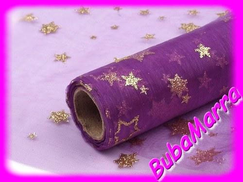 ~ ORGANZA vánoční hvězdičky ~ šíře 15cm ~ FIALOVÁ