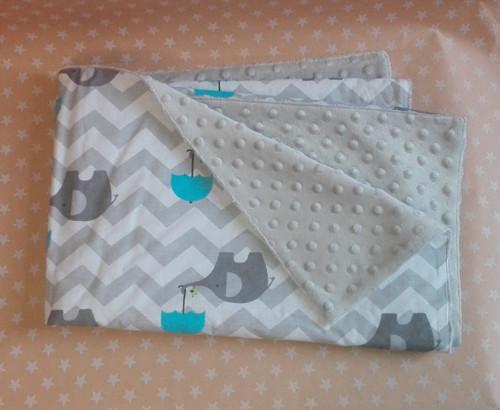 Oboustranná deka sloni(bavlna+minka)