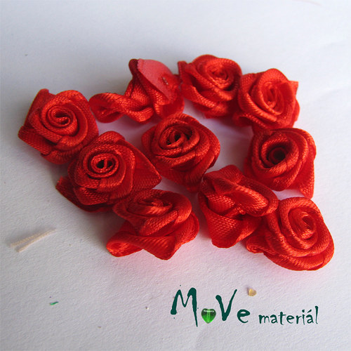 Růžička saténová červená Ø15mm, 10kusů