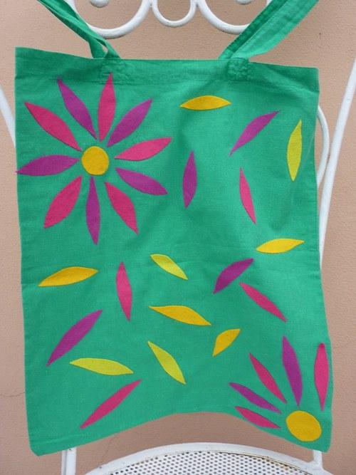 Optimistická látková taška - zelená