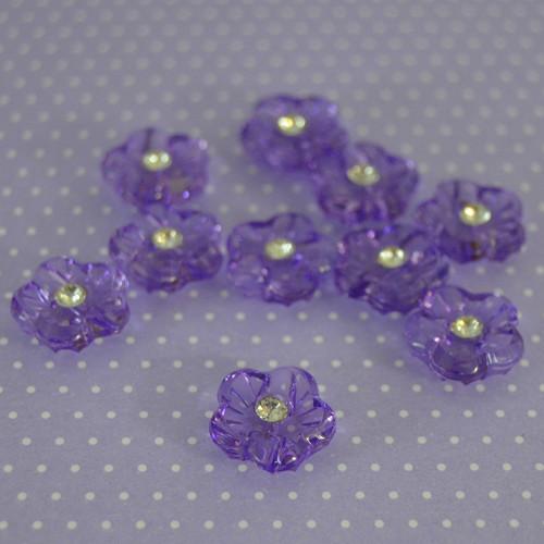Knoflík / fialová květinka - 10 ks